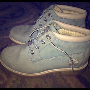 Baby blue Timberlands size women's 5